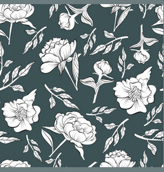 floral seamless peony pattern drawn in sketch vector image
