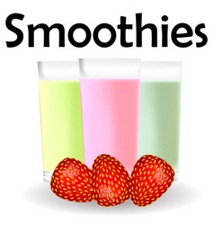 Fruit smoothies ads kiwi and berries smoothie cup vector
