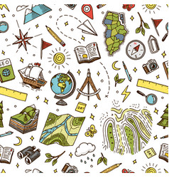 geography symbols seamless pattern equipments for vector image