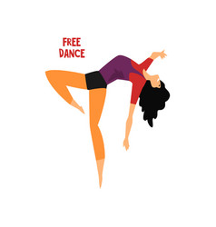 Girl dancing free dance on a vector