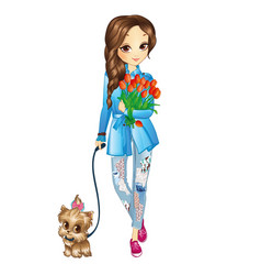 girl with puppy and flowers vector image
