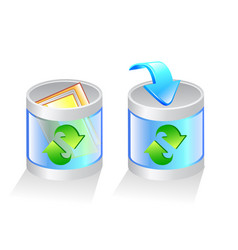 glass recycle bin icon vector image