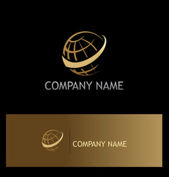 Globe sphere orbit gold logo vector