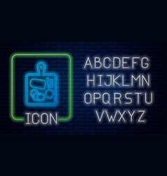 Glowing neon cutting board icon isolated on brick vector