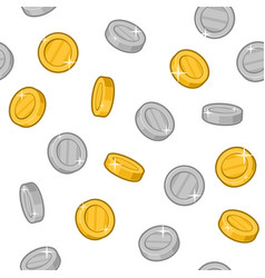 gold and silver coins seamless pattern on white vector image