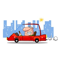 Grinning Man Driving A Red Car In The City vector image