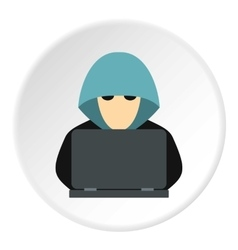 Hacker behind computer icon flat style vector image