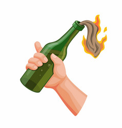 Hand holding molotov cocktail anarchy icon vector