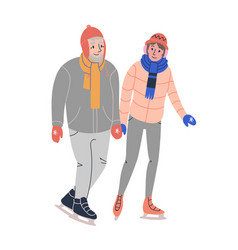 Happy elder couple skating on ice rink vector