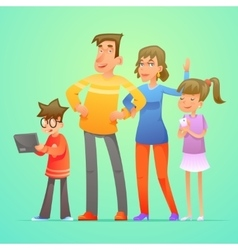 Happy family characters set cartoon design vector image