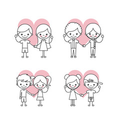 happy friendship children icons set vector image