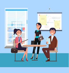 Happy office workers and businessmans color card vector