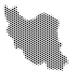 Hexagonal iran map vector