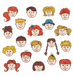 hildren faces vector image