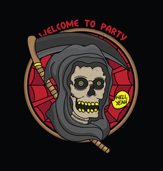 horror party flash tattoo design vector image