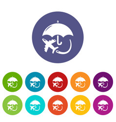 insurance fly icons set color vector image