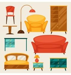 Interior icon set with furniture in retro style vector