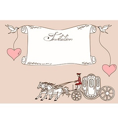 Invitation or card with horse carriage vector