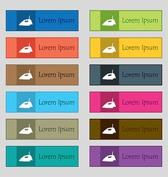 Iron icon sign Set of twelve rectangular colorful vector