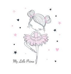 Little dancing ballerina childish graphic doodle vector