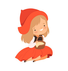 Little red riding hood character from fairy tale vector