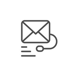 Mail support line icon vector