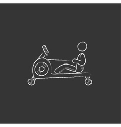 Man exercising with gym apparatus Drawn in chalk vector