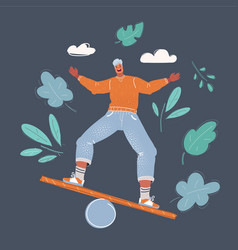 man try to balance himself vector image