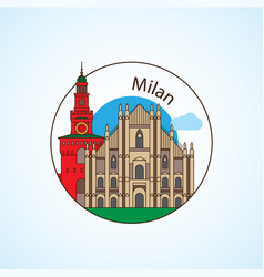 milan italy detailed silhouette trendy vector image