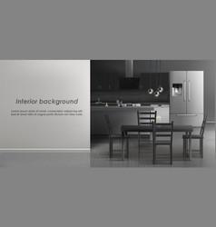 Mockup of kitchen room interior vector