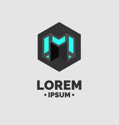 modern emblem and sign letter m flat vector image