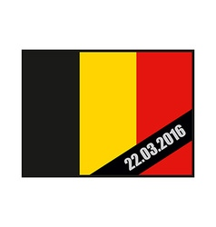 Mourning Ribbon on flag of Belgium Attack in vector