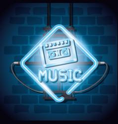 Music iluminated neon label vector