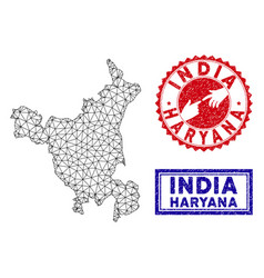 Polygonal mesh haryana state map and grunge stamps vector