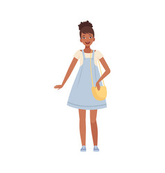 Pretty afro-american teenager female wearing jeans vector