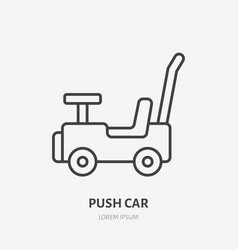 pushing car line icon baby toy flat logo vector image