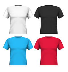 realistic set cotton t-shirts isolated on white vector image