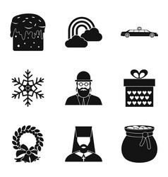 Religious symbolism icons set simple style vector