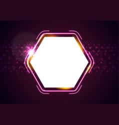 Retro glowing neon shiny hexagon abstract vector