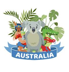 Ribbon words australia colorful banner animals vector