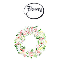 Rose flower wreath floral circle border frame vector