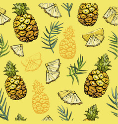 Seamless pattern with pineapples and palm leaves vector