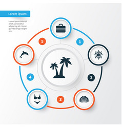 Season icons set collection of baggage sunny vector