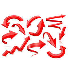 set of 3d shiny arrows vector image