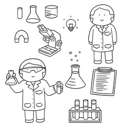 set of scientist and laboratory equipment vector image