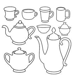Simple coffee tea crockery silhouette set vector