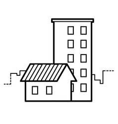 Single-storey and multi-storey houses line icon vector