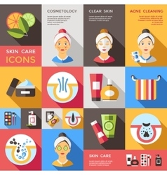 Skin Care Decorative Icons Set vector