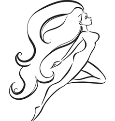 Slender girl with long thick hair vector image