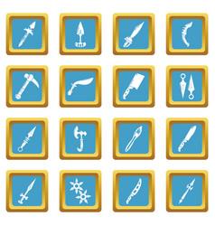steel arms items icons set sapphirine square vector image